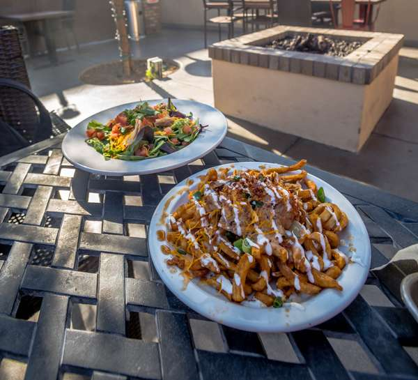 outside smoked fries and salad