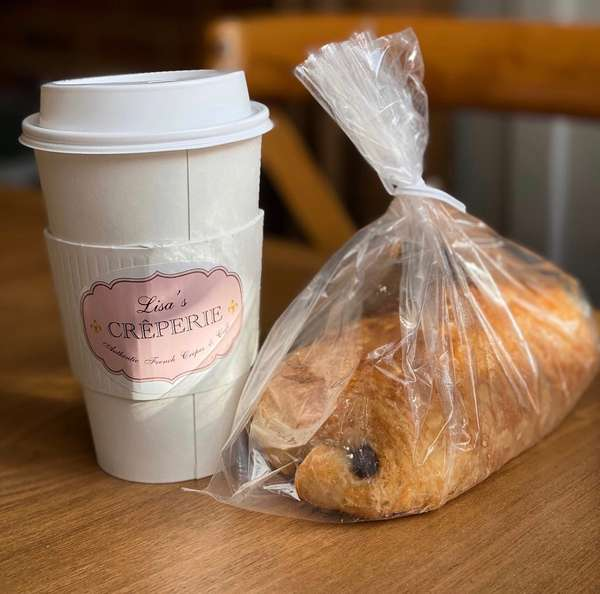 Coffee and croissant to go
