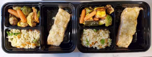 rice and veggies and fish