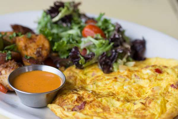 salad and omelette