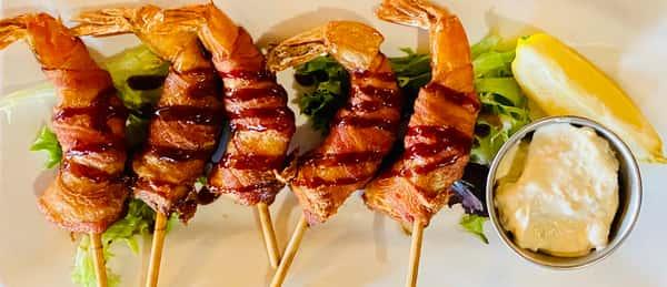 Bacon Wrapped Prawns*