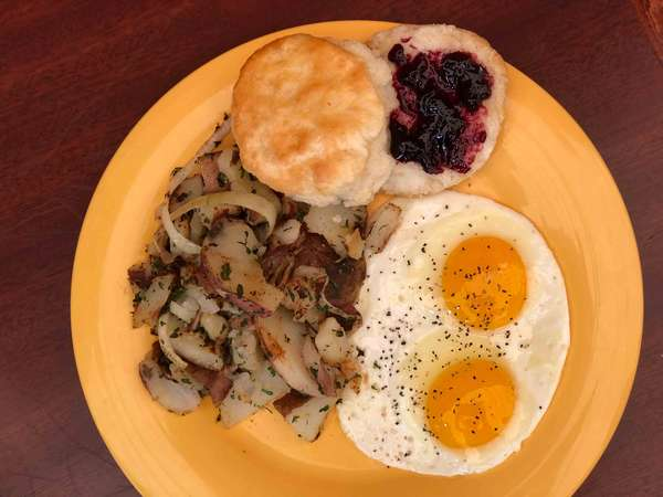 breakfast - eggs and biscuit