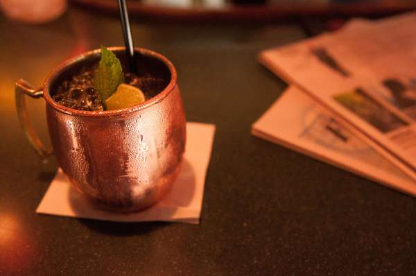 Copper mule with mixed drink