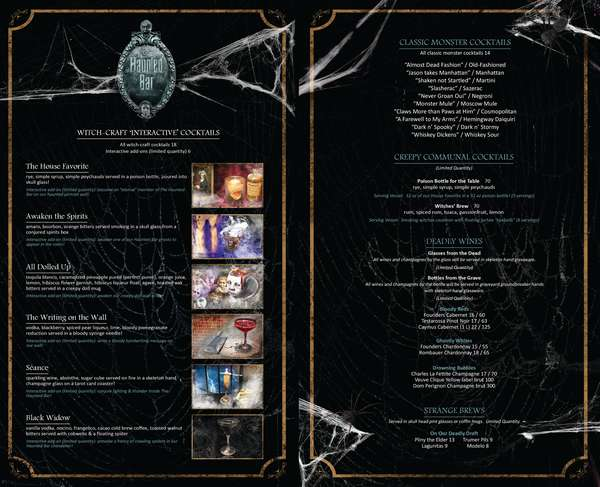 """The Haunted Bar - Spirits Menu - Haunted """"Interactive"""" Cocktails, Classic Monster Cocktails, Creepy Communal Cocktails, Deadly Wines, Strange Brews"""