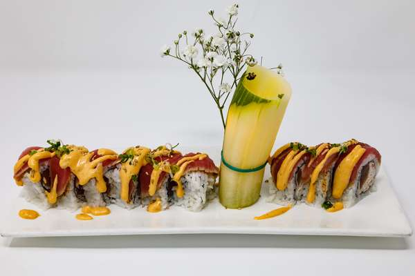 sushi roll and candle