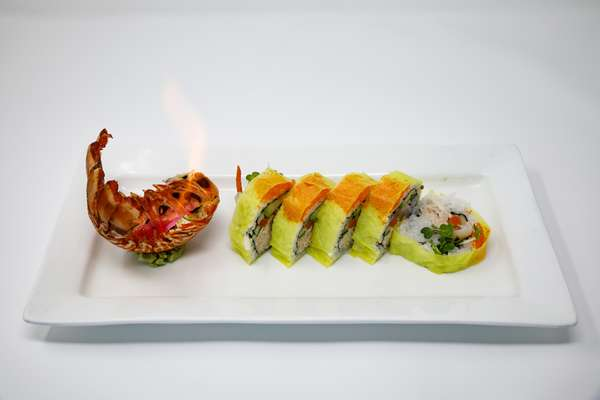 sushi roll and flame