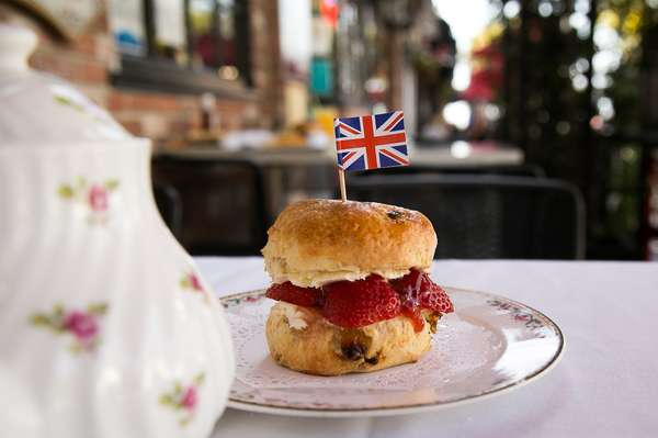 Fresh Baked Scone with Strawberries