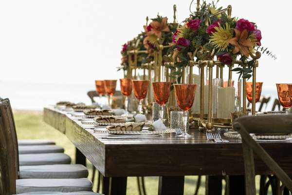 Elegantly decorated outdoor dining