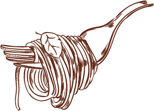 Illustrated fork wrapped in pasta