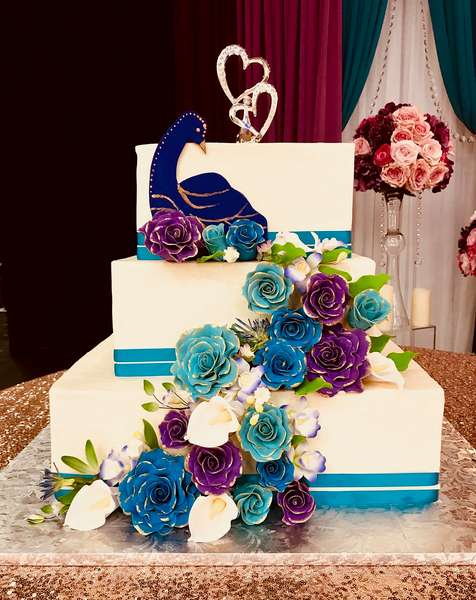 cake with colorful flowers