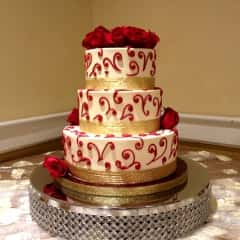 cake with red swirl