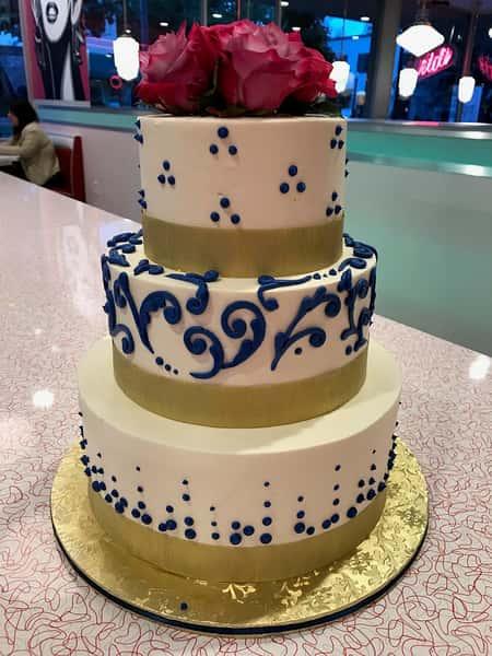 cake and blue swirl