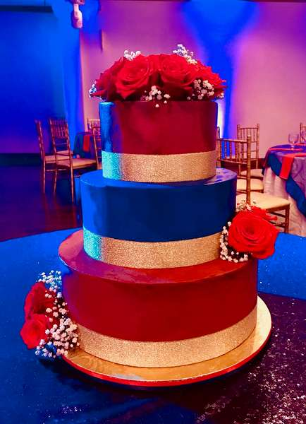 red and blue cake