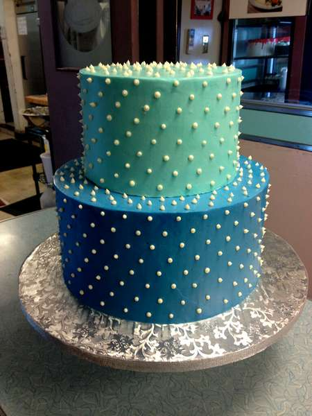 blue and teal cake