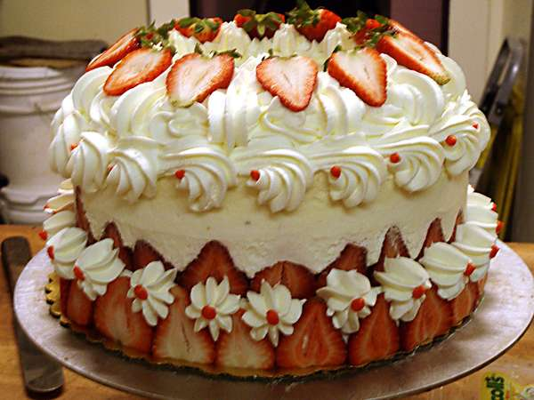 large cake with strawberries