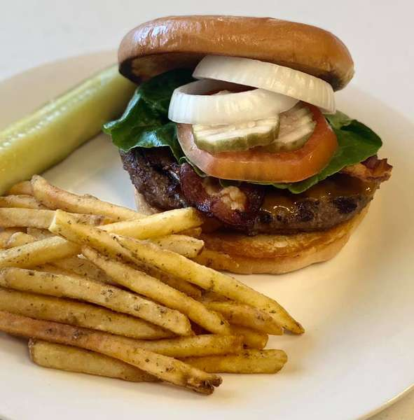 Five-0 Burger with fries