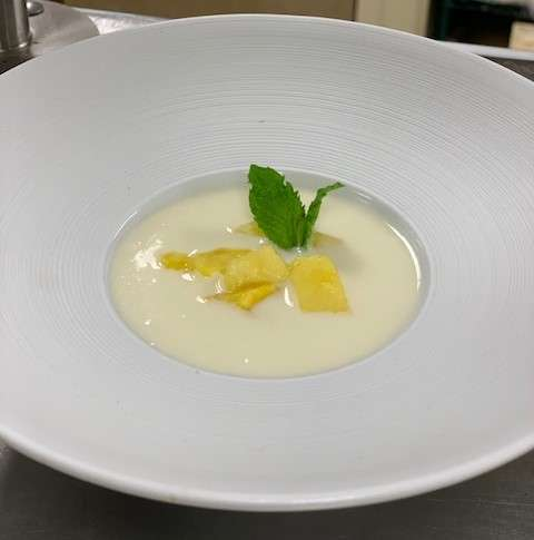 Pineapple Gazpacho with Mint Sprig