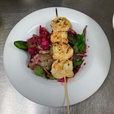 Grilled Shrimp Skewer with Asian pickled salad