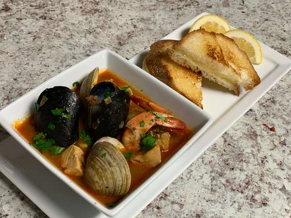 Seafood Stew with Smoked Gouda Grilled Cheese