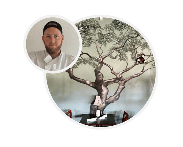 graphic with a chef and a tree