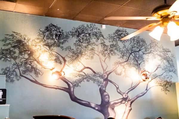 mural in restaurant