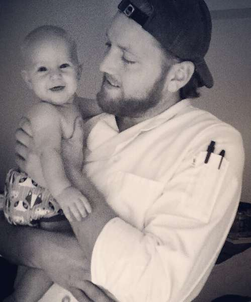 chef with baby