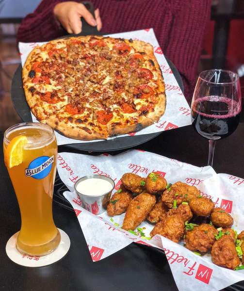 wings and pizza table