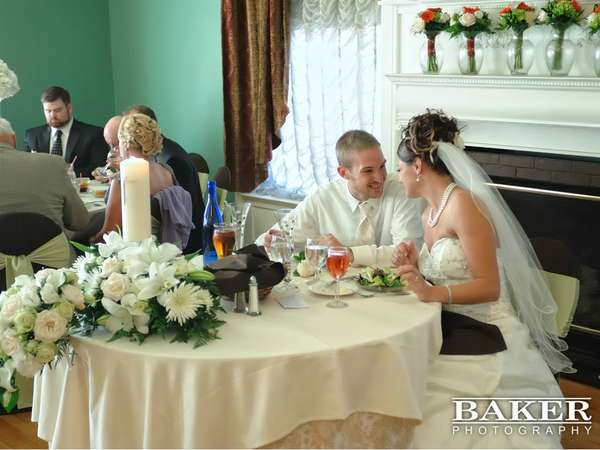 bride and groom dining