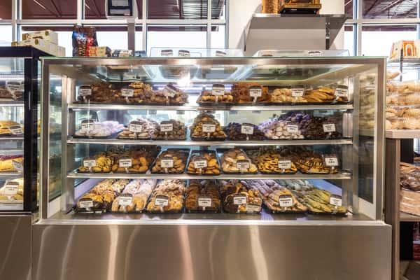 Display case of desserts