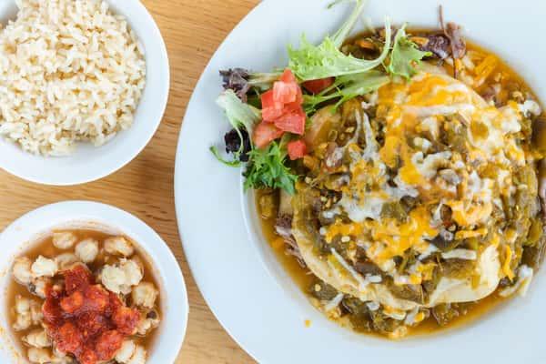 Brisket Enchilada Plate