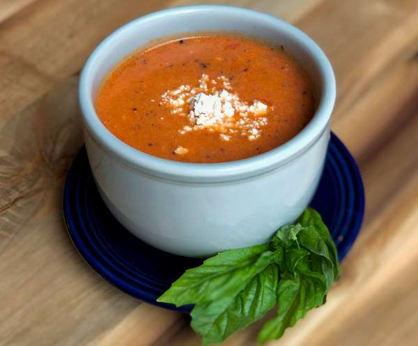Cream of Tomato with Basil and Feta