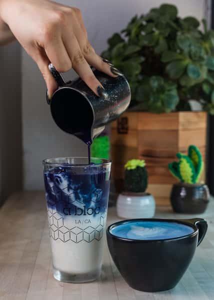 blue iced latte