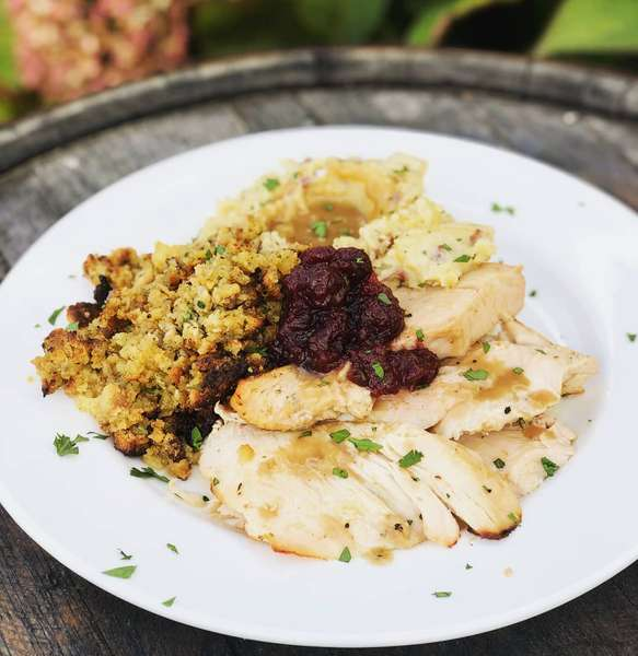 turkey, stuffing and mashed potatoes