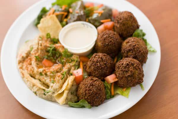 falafel plate at chicken dijon in el segunado and renondo beach, ca