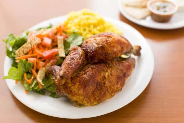 half chicken plate at chicken dijon in el segunado and renondo beach, ca
