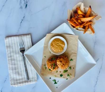 Salmon Cakes with Sweet Potato Fries