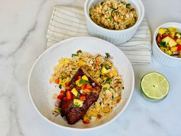 Tropical Snapper with Coconut Pineapple Rice