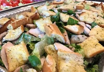 salad with garlic bread croutons