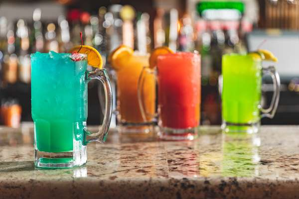 Colorful happy hour drinks