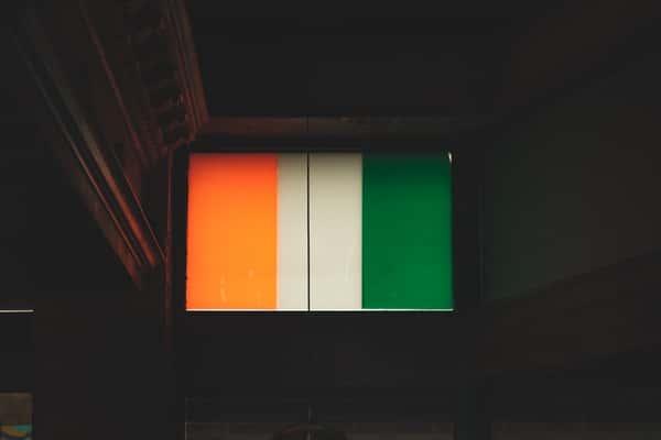 Orange, white and green Irish flag