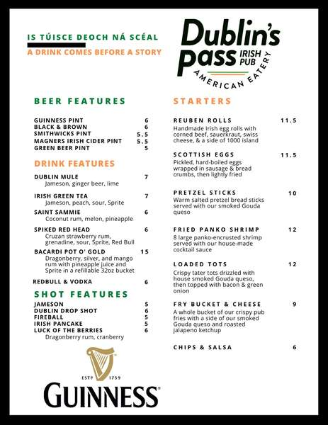 The first page of our menu