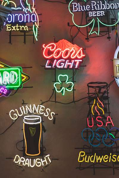 Lit up beer signs