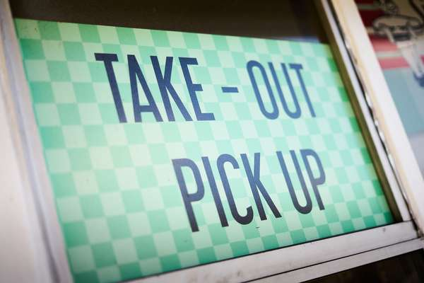 take-out and pickup sign