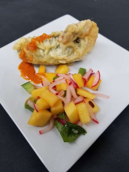 entree with mango side