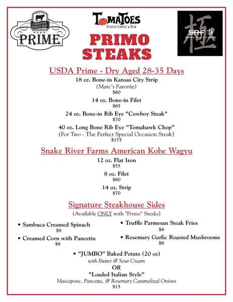 PRIMO STEAKS -- IN RESTAURANT DINNING ONLY