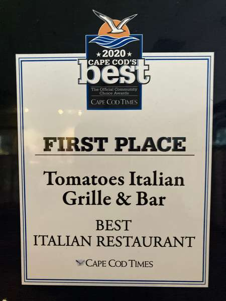 Tomatoes Italian Grille & Bar Named 2020 Best Italian Restaurant by Cape Cod Times