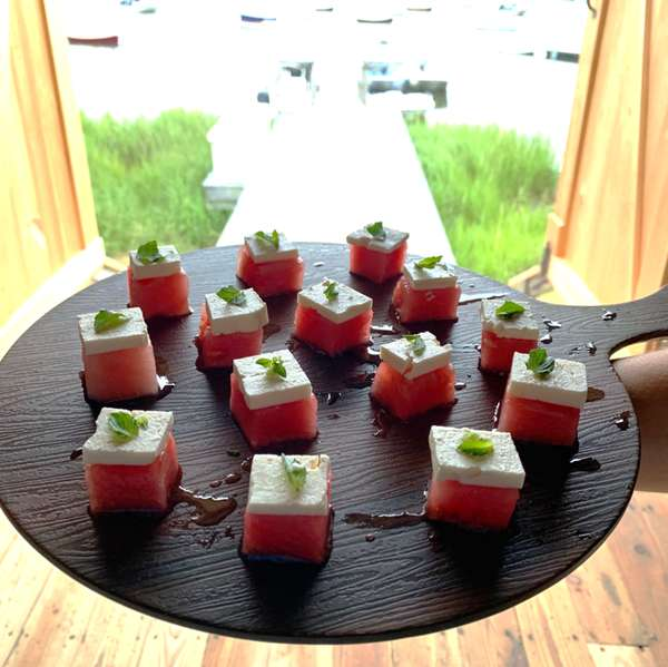 Rum Soaked Watermelon with Feta & Mint