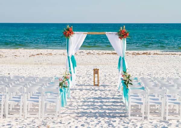 nice wedding at the beach