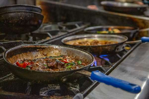 Interior pans of food