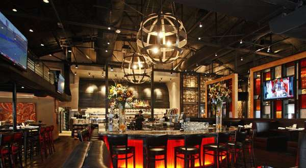 dining are with globe chandeliers